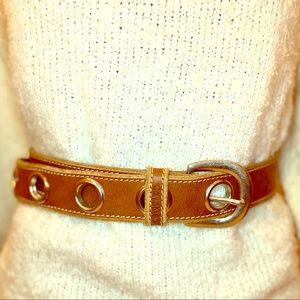 Calvin Klein tan leather belt w/ large grommets